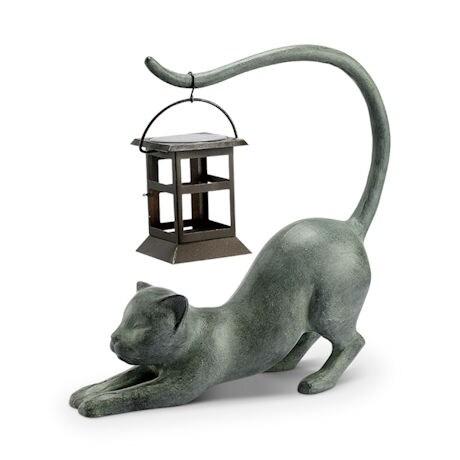 Stretching Cat Solar Garden Lantern