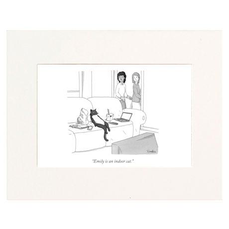 Indoor Cat Personalized New Yorker Cartoonist Cartoon - Matted