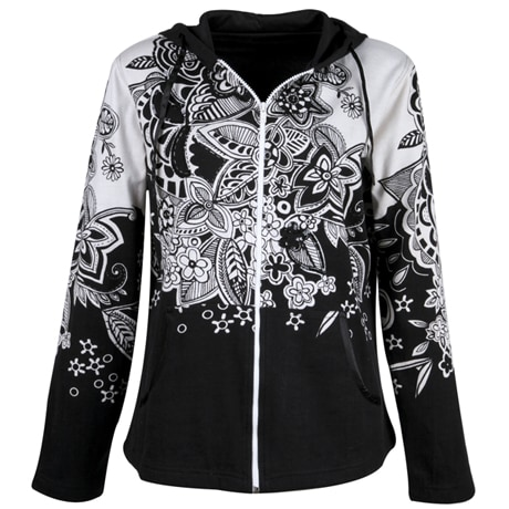Black and White Floral Hoodie