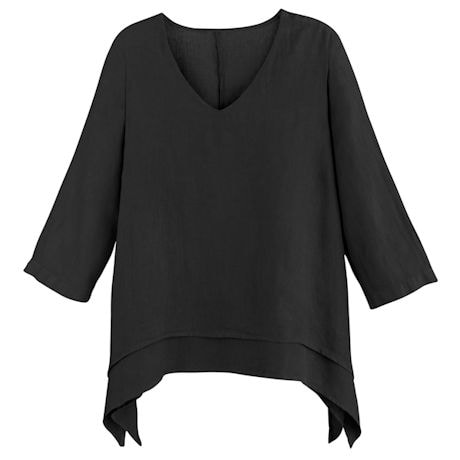 Easy Fit Double Layer Garment Dyed Linen Tunic Top