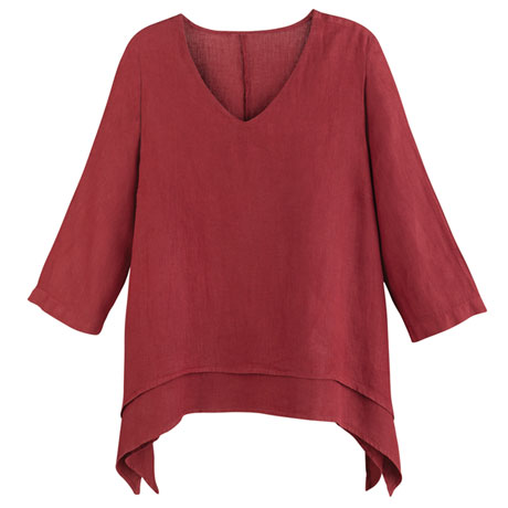 Layered Linen Tunic Top Women's Garment Dyed Easy Fit