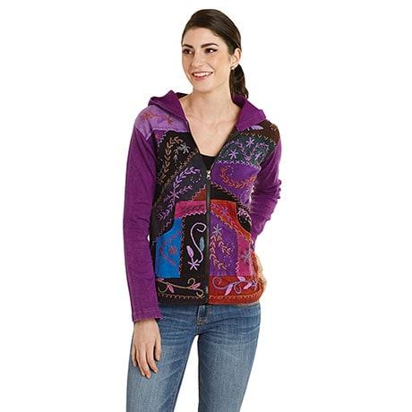 Folk Art Hand-Embroidered Zip Front Hoodie Sweatshirt
