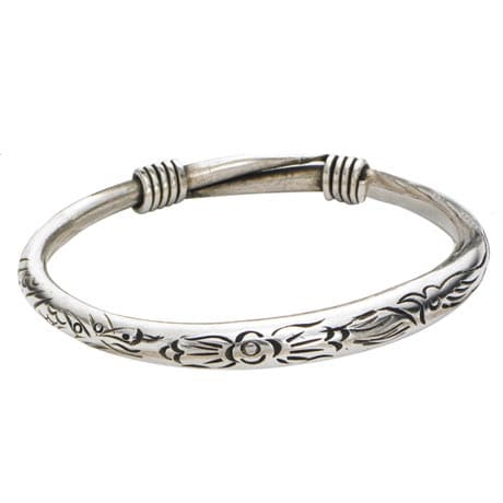 Silvery Bangles - Floral