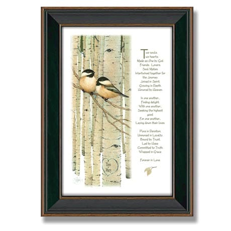 Personalized Love Birds Framed Canvas Print - Wide