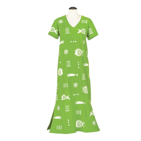 M Mac Rock Fish Maxi Dress Cotton with Short Sleeves and V Neck