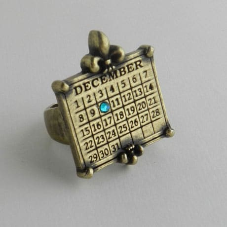 Personalized Calendar Fleur De Lis Adjustable Ring
