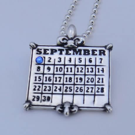 "Personalized Calendar Fleur De Lis Sterling Pendant With 24"" Ball Chain"