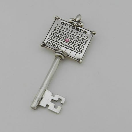 Personalized Calendar Key Sterling Silver Charm
