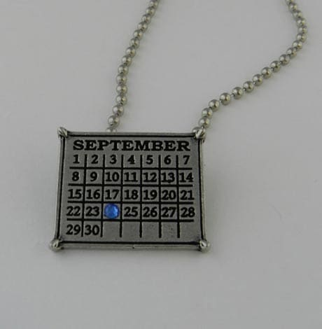 "Personalized Classic Calendar Necklace With 30"" Ball Chain"