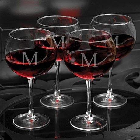 Personalized Red Wine Glasses Set/4