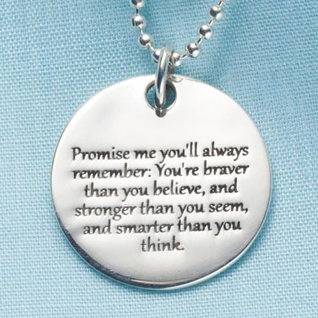 "Promise Me Pendant in Sterling Silver Engraved ""Promise Me You'll Always Remember"" Christopher Robin Quote"