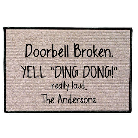 "Personalized Yell ""Ding Dong!"" Doormat"