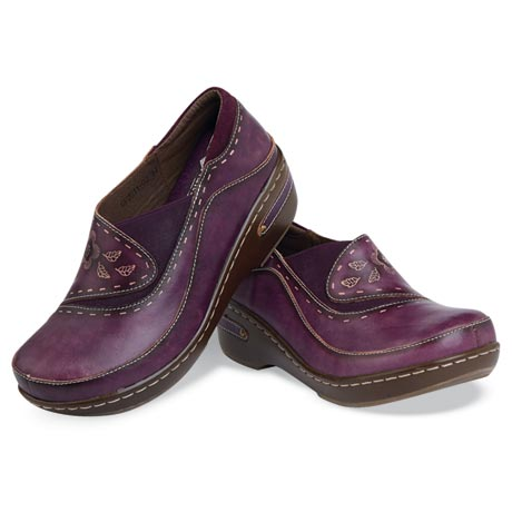 Painted Leather Clogs