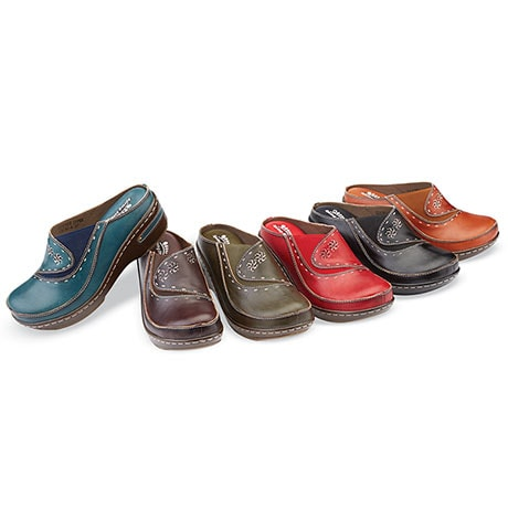 Hand Painted Open Back Clogs in Leather and Floral Designs