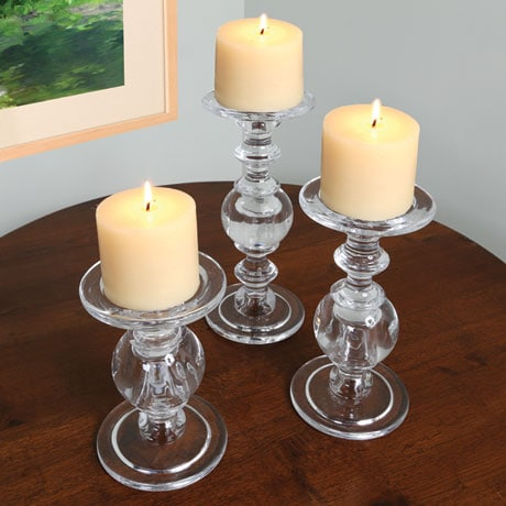 Glass Baluster Candlesticks - Set Of 3