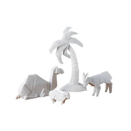 Porcelain Origami Nativity Scene - Camel, Donkey, Sheep & Palm Tree