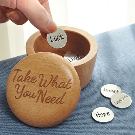 Take What You Need Wooden Box and Inspirational Coins