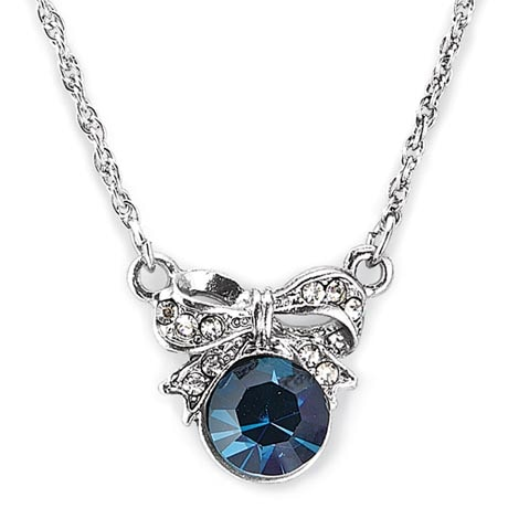 Downton Abbey Blue Sapphire Silver Bow Necklace