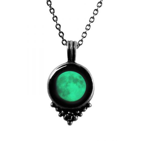 Custom Glow in Dark Moon Necklace