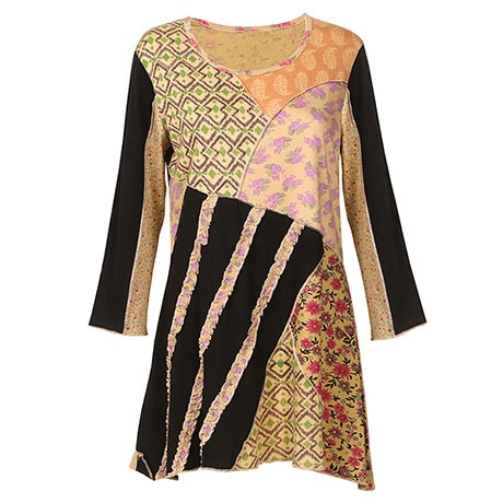 Patchwork Lulu Tunic Top for Women in Floral Paisley