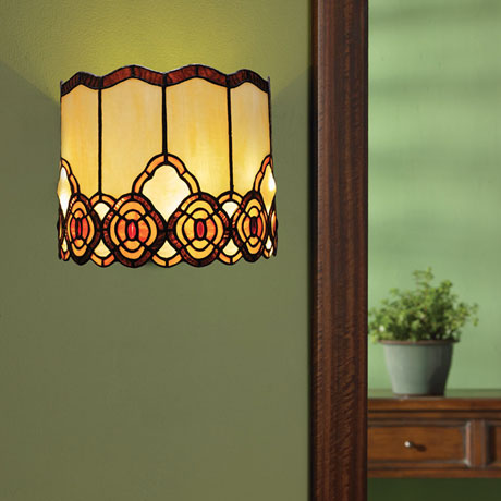 ... Battery Operated Wall Sconce In Tiffany Style   Art Glass Touch Of  Elegance ...