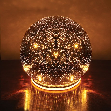 Lighted Mercury Glass Sphere - Silver