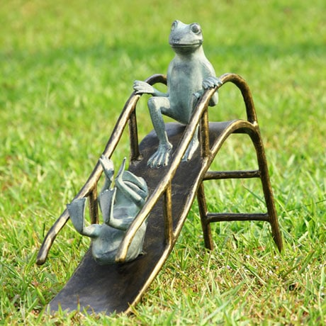 Sliding Frogs Garden Sculpture