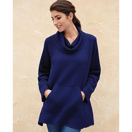Waffle Cowl Neck Tunic Top with Long Sleeves & Kangaroo Pockets for Women