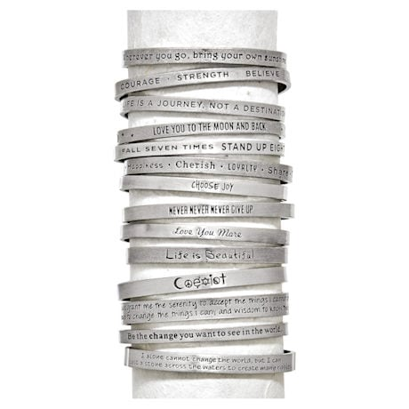 Note To Self Inspirational Lead-Free Pewter Cuff Bracelet