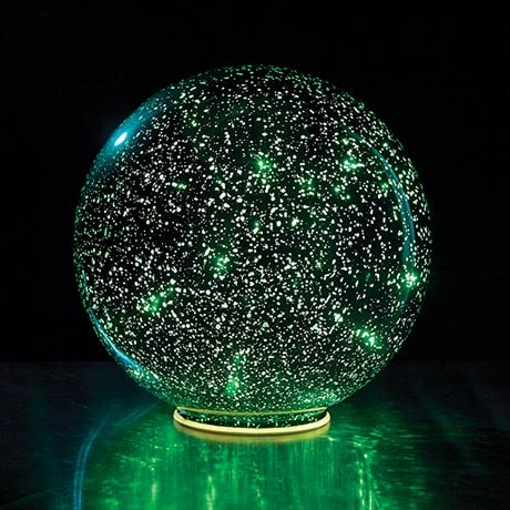 Lighted Mercury Glass Sphere - Green