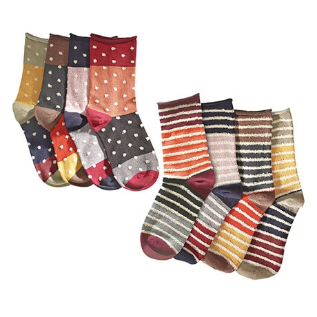 Mismatched Socks Gift Set: 4 Pair Striped 4 Pair Polka Dots (8 pair)