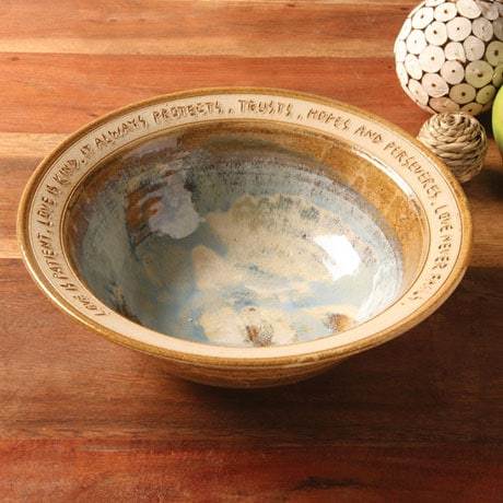 Love Is Patient Artist-Made Stonewear Wedding Bowl