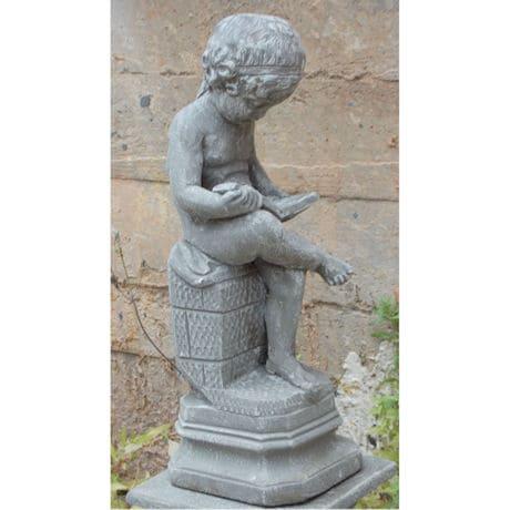 The Little Scholar Garden Sculpture and Pedestal