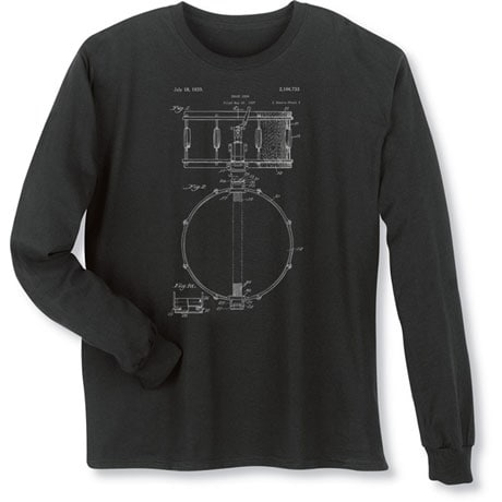 Vintage Patent Drawing Shirts - Drum