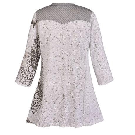 V-neck Silver Print Mandala Tunic