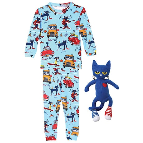 Pete the Cat Gift Set with 100% Cotton Blue Pajamas and Blue Poly Plush
