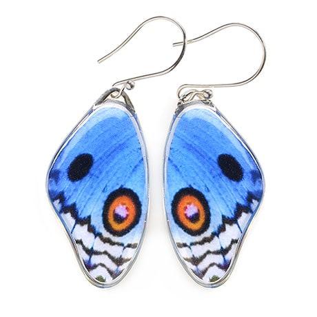 Blue Pansy Butterfly Wing Earrings