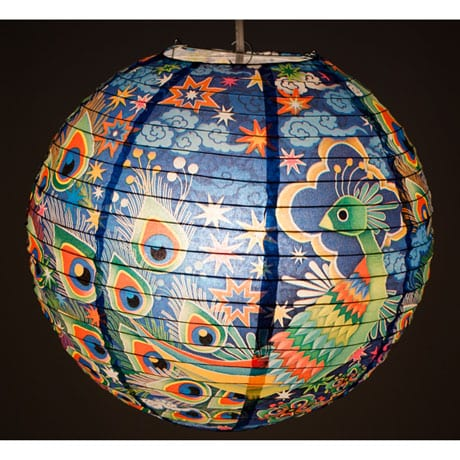 Peacock Stained Glass Paper Lantern