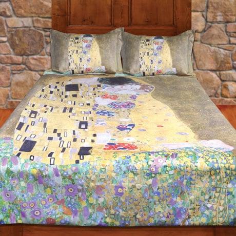 Klimt The Kiss Painting Duvet Cover  (Full/Queen) and Set of 2 Shams Bedding Set