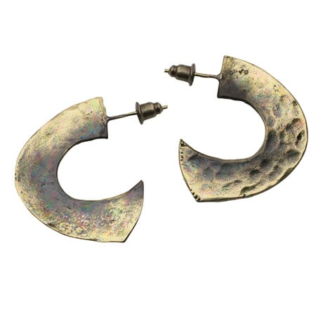 Bronze Organic 1/2 Hoop Earrings