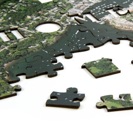 Home Sweet Home Wooden Satellite Puzzle - Centered on Your Home Address