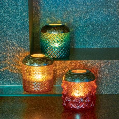 Vintage-Style Glass Votive Lanterns Set