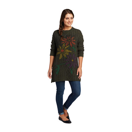 Hand-Painted Daisies Sweater Tunic