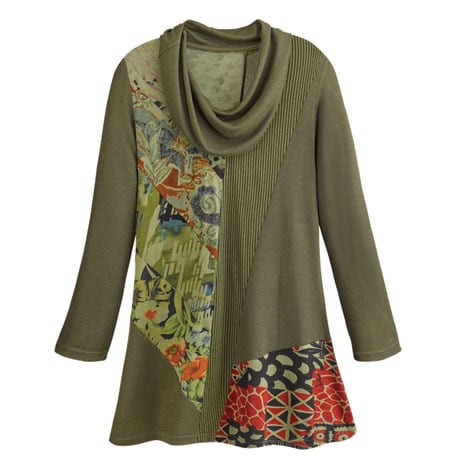 Collage Cowl-Neck Tunic
