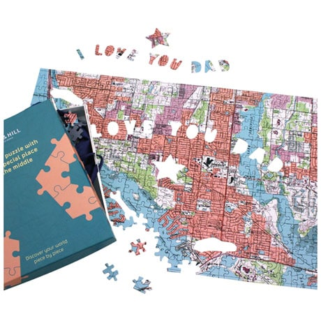Personalized I Love You Dad Map Puzzle - Centered on any address you choose.