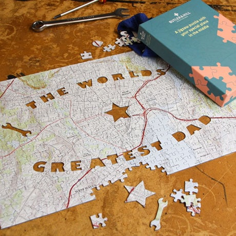 Personalized World's Greatest Dad Map Puzzle - Centered on any address you choose.