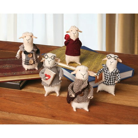 Felted Wool Cute and Decorative Sheep - Set of 5