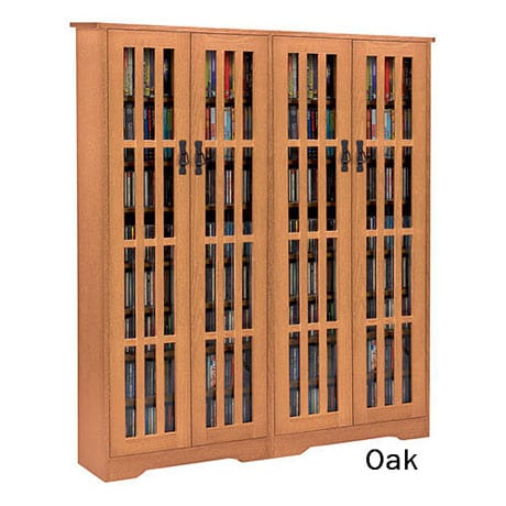 Mission Style Media Storage Cabinets - 4 Door