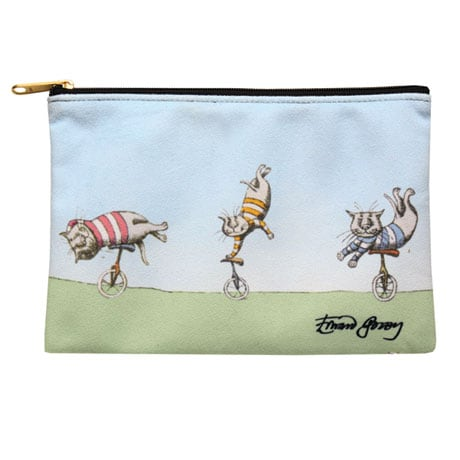 Edward Gorey Zipper Pouches - Unicycling Cats