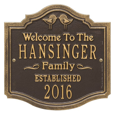 Personalized Love Birds Family Plaque